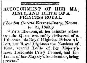 Birth of Princess - Perth Gazette 20 Mar 1841
